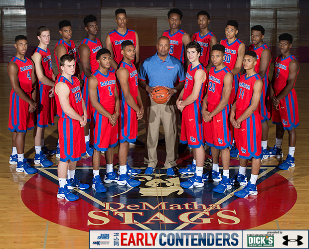 Head coach Mike Jones and his 2015-16 DeMatha basketball players