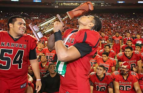 Kahuku celebrated a state title on Saturday; today it celebrates a No. 1 ranking in the Farwest.