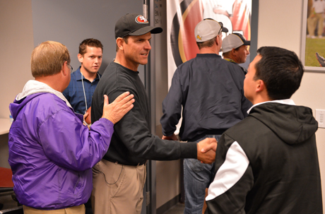 Jim Harbaugh said he isn't a great motivator but more of a teacher than a coach.