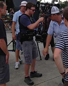 Nick Hayes learning to use the steady cam on set.