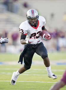 Kendall Holmes made the most of his 50 yards rushing, scoring three TDs for  Union.