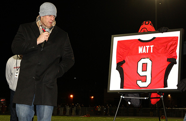 Houston Texans defensive end J.J. Watt was honored with a jersey retirement ceremony at Pewaukee High School on Friday night.