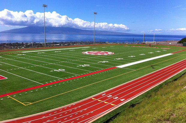 The athletics complex at Lahainaluna High is still a work in progress. What is already built, and is there to stay, is the view that is worthy of a postcard.