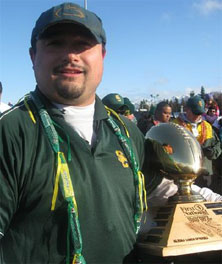 Service coach Jason Caldarera after his team won the state 2008 title.