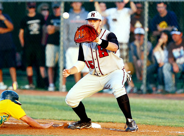 Rockwall-Heath's Jake Thompson prepares to try to make the tag during the Texas Class 4A regional quarterfinals on May 20.