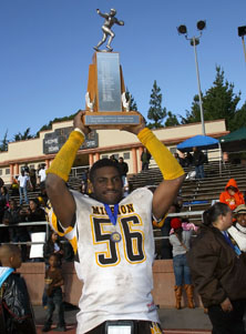 Mission linebacker Miles Prescott  celebrates after recording two big sacks including one to end the game.