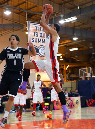 Ben Simmons soars in for a dunk during EYBL play Saturday in Sacramento.
