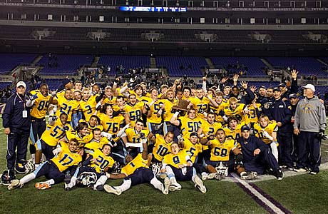 The River Hill football team celebrates after a state championship victory at M&T Bank Stadium, home of the Baltimore Ravens.