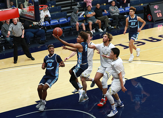 Valley Christian point guard Jaylon Bryant scores two of his team-high 16.