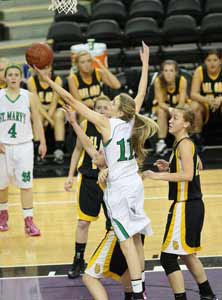 Kendall Kenyon goes after one of  her game-high 20 rebounds.