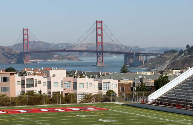 The Washington High School Stadium has a breathtaking view of the Golden Gate Bridge.