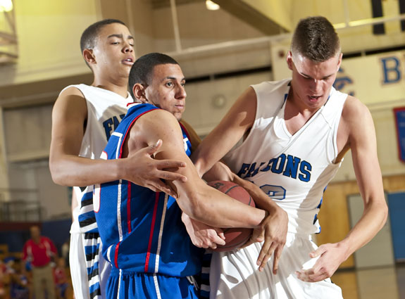 Austin Haldorson, right, and Zach Braxton have helped Highlands Ranch muscle-up its record to 16-0. But tough Continental League contests lurk.