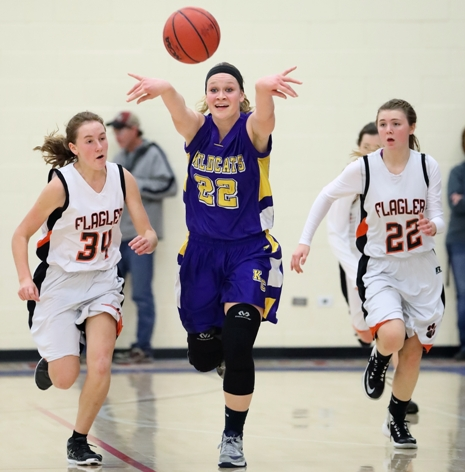 Micayla Isenbert (22) is part of a dynamic duo with Tess Horning for undefeated Kit Carson. The Wildcats take on Fleming on Feb. 3 in a rematch of the 2017 Class 1A state title game.