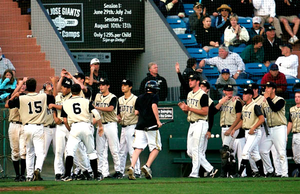 Archbishop Mitty celebrates a run during last year's CIF-Central Coast Section Division I final.