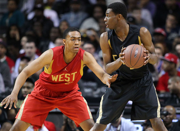 Jabari Parker (left) and Andrew Wiggins battled each other three times in the spring of 2013, including this meeting at the Jordan Brand Classic.
