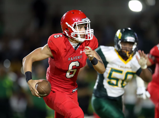 Kahuku sophomore quarterback Sol-Jay Maiava rushed for a first-half touchdown.