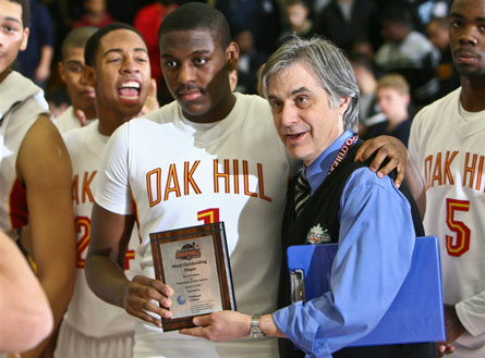 UCLA signee Jordan Adams earned game MVP honors for Oak Hill Academy at the Spalding Hoophall Classic after going for 23 points in a 30-point win over Prestonwood Christian.
